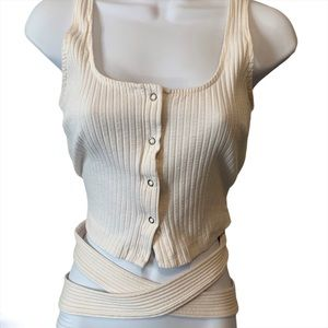Lush ribbed tie up crop top